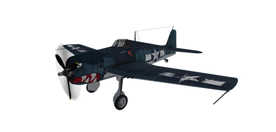 F6F_Hellcat Fighter royalty-free 3d model - Preview no. 1