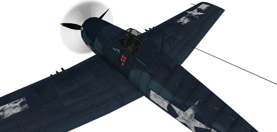 F6F_Hellcat Fighter royalty-free 3d model - Preview no. 5
