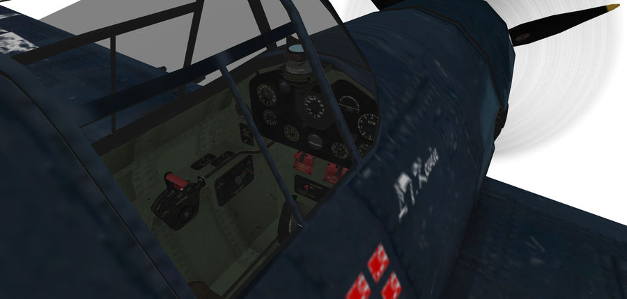 F6F_Hellcat Fighter royalty-free 3d model - Preview no. 6