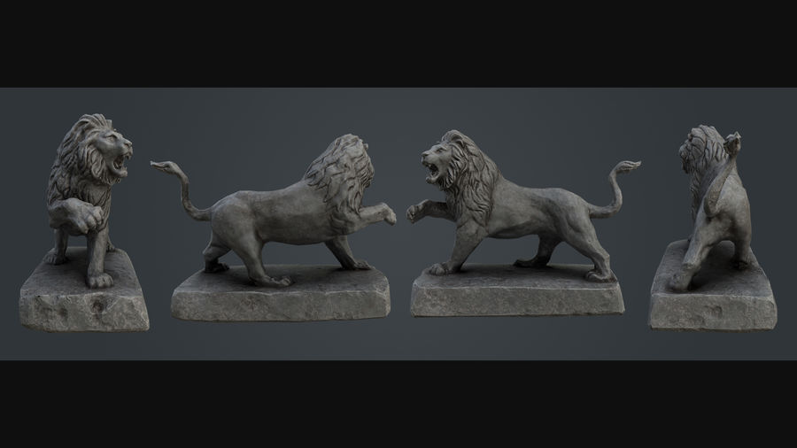 Lion Statue royalty-free 3d model - Preview no. 4
