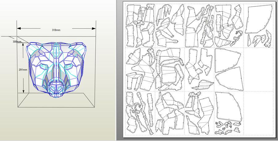 Papercraft de cabeça de urso royalty-free 3d model - Preview no. 8