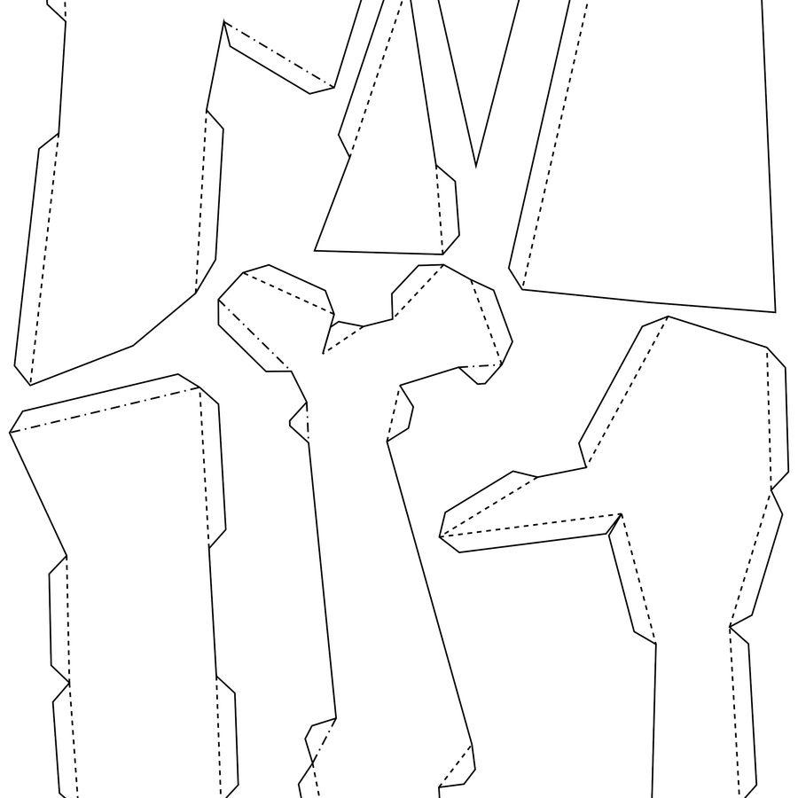 熊头纸模型 royalty-free 3d model - Preview no. 10