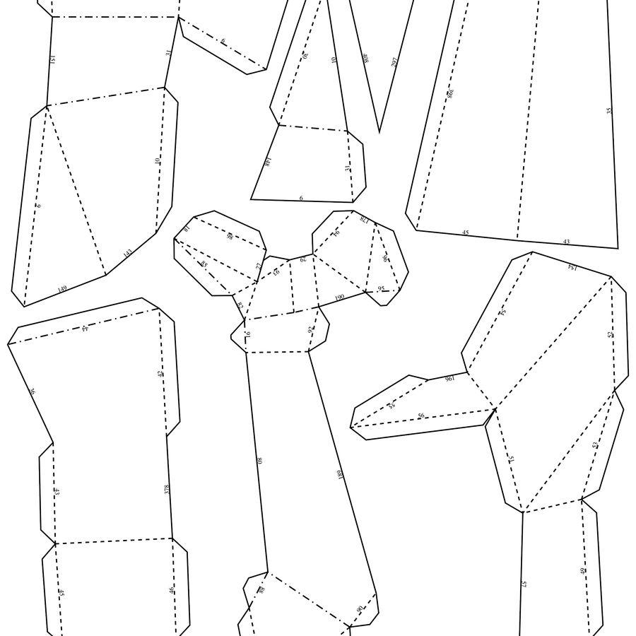 熊头纸模型 royalty-free 3d model - Preview no. 9