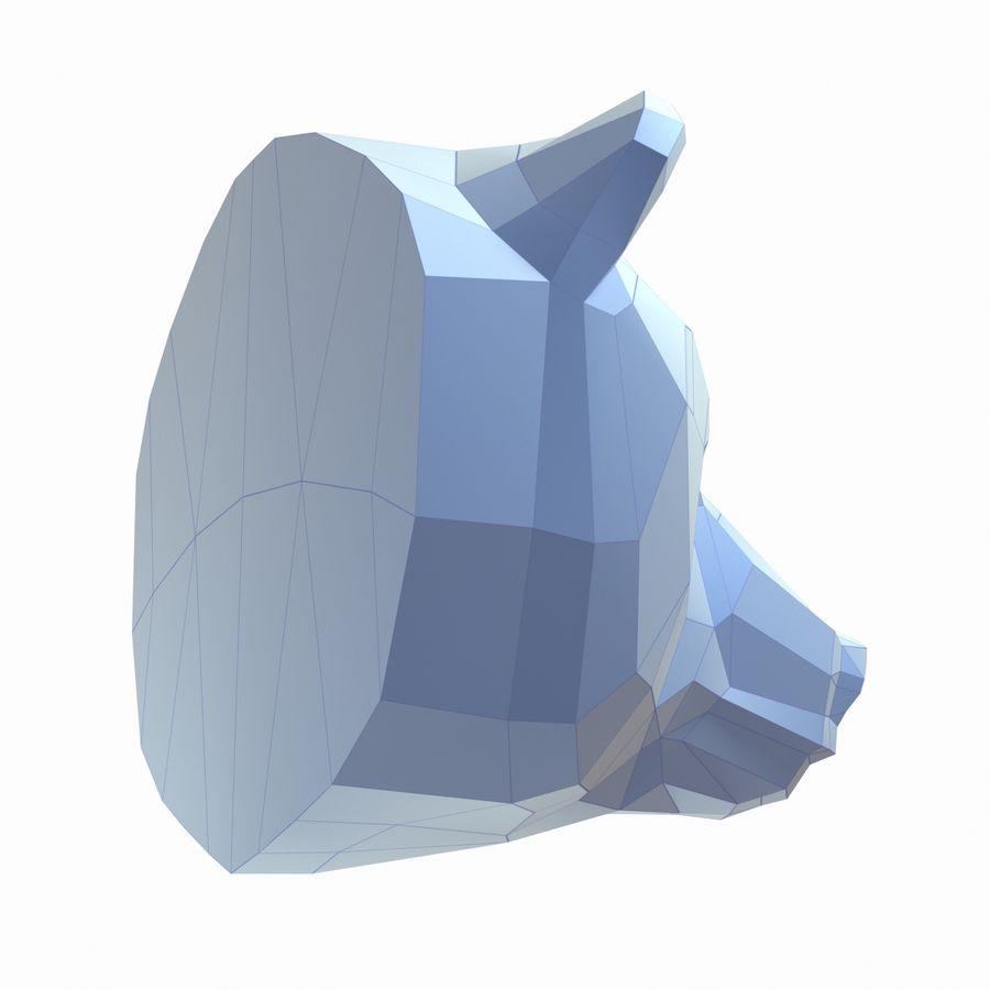熊头纸模型 royalty-free 3d model - Preview no. 6