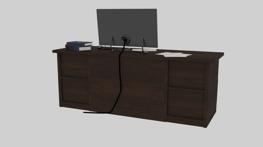 사무용 책상 royalty-free 3d model - Preview no. 18