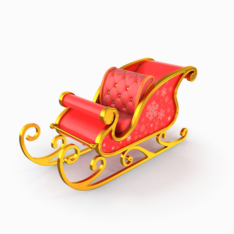 Санки Санта royalty-free 3d model - Preview no. 2