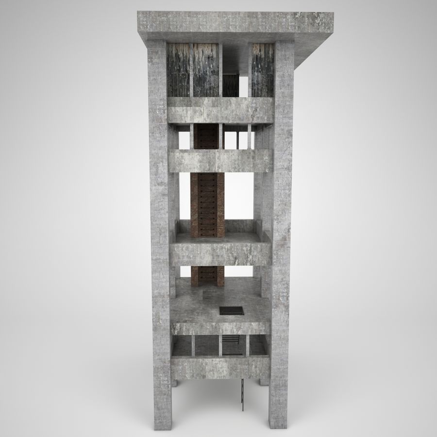 Edificio en ruinas royalty-free modelo 3d - Preview no. 2