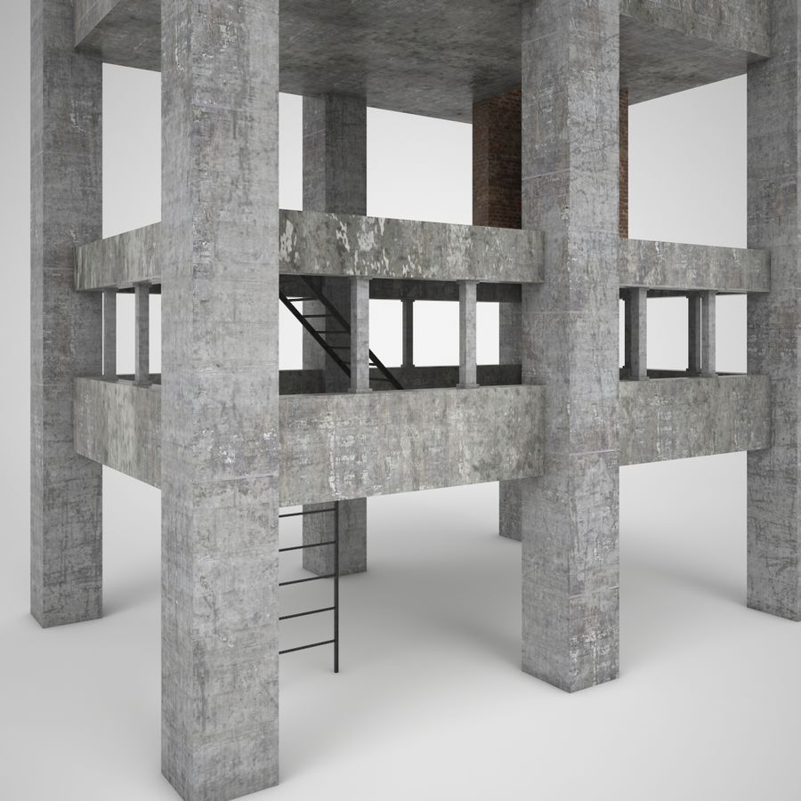 Edificio en ruinas royalty-free modelo 3d - Preview no. 4