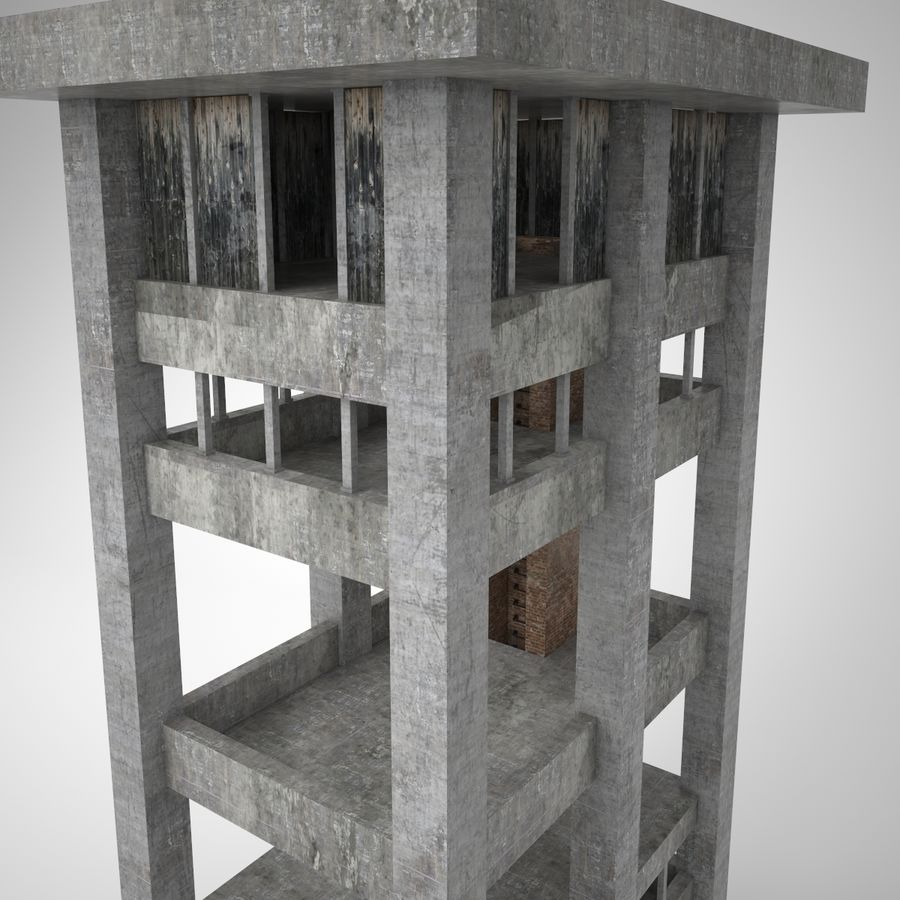 Edificio en ruinas royalty-free modelo 3d - Preview no. 6