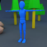 Low poly skinny rag doll dummy character for game 3d model