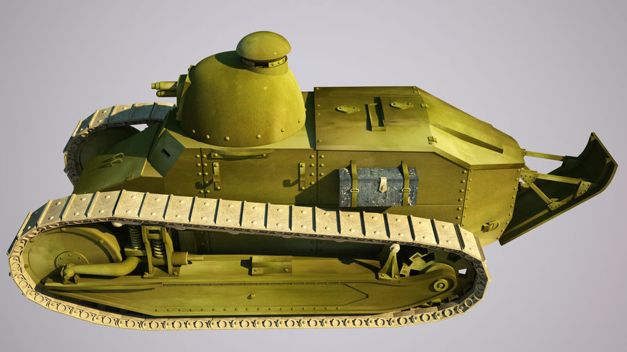 old_army_tank royalty-free 3d model - Preview no. 5