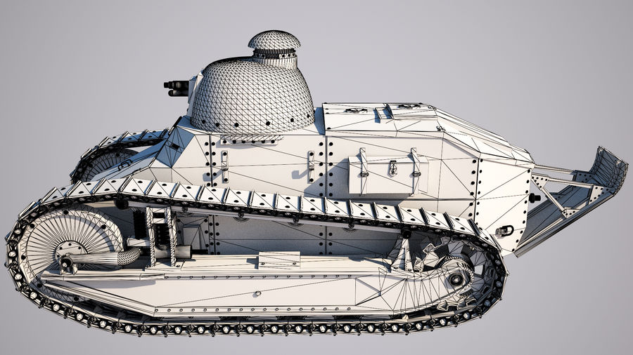 old_army_tank royalty-free 3d model - Preview no. 6