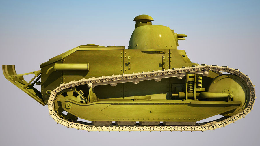 old_army_tank royalty-free 3d model - Preview no. 2