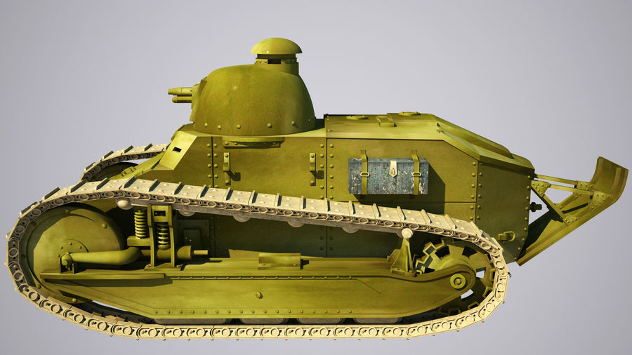 old_army_tank royalty-free 3d model - Preview no. 1