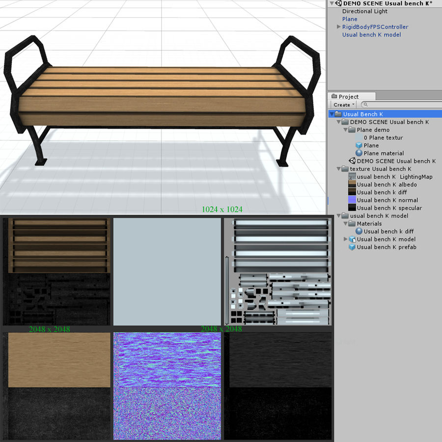 Обычная скамейка К royalty-free 3d model - Preview no. 8