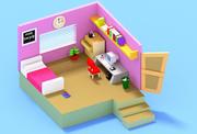 chambre basse poly (1) 3d model