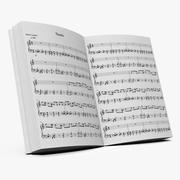 Muziek notities boek 3d model