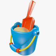 Toy Shovel and Bucket 3d model