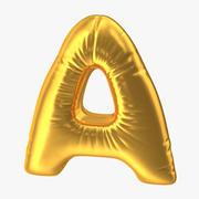 Foil Globo Letra A Oro modelo 3d