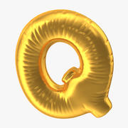 Foil Balloon Letter Q Gold 3d model