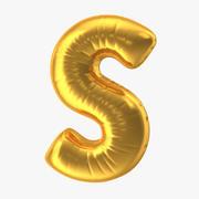 Balon foliowy Letter S Gold 3d model