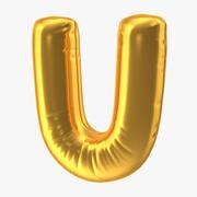 Balon foliowy litera U Gold 3d model