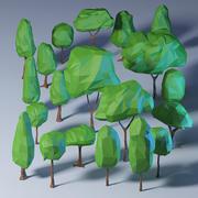 다각형 나무 팩 3d model