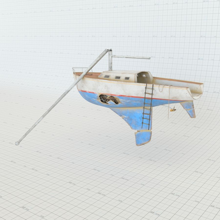 Shipwreck Sailboat royalty-free 3d model - Preview no. 3