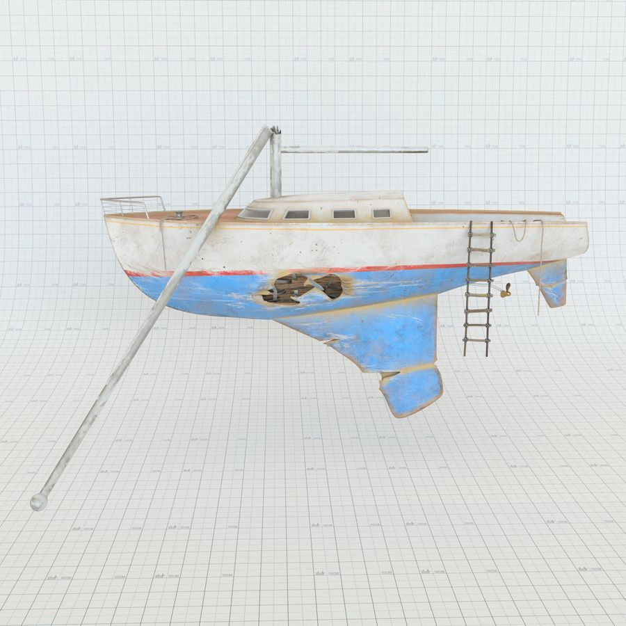 Shipwreck Sailboat royalty-free 3d model - Preview no. 2