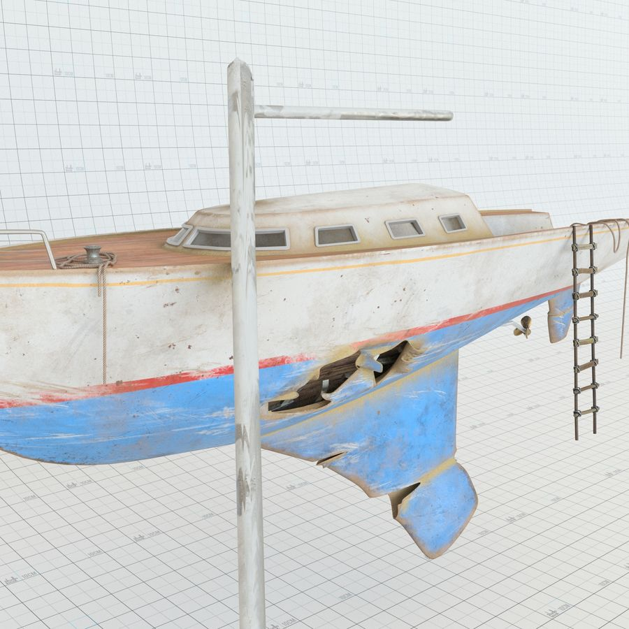 Shipwreck Sailboat royalty-free 3d model - Preview no. 1