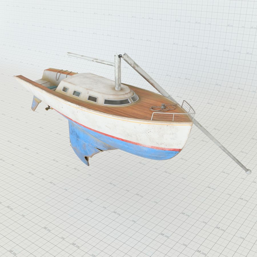 Shipwreck Sailboat royalty-free 3d model - Preview no. 4