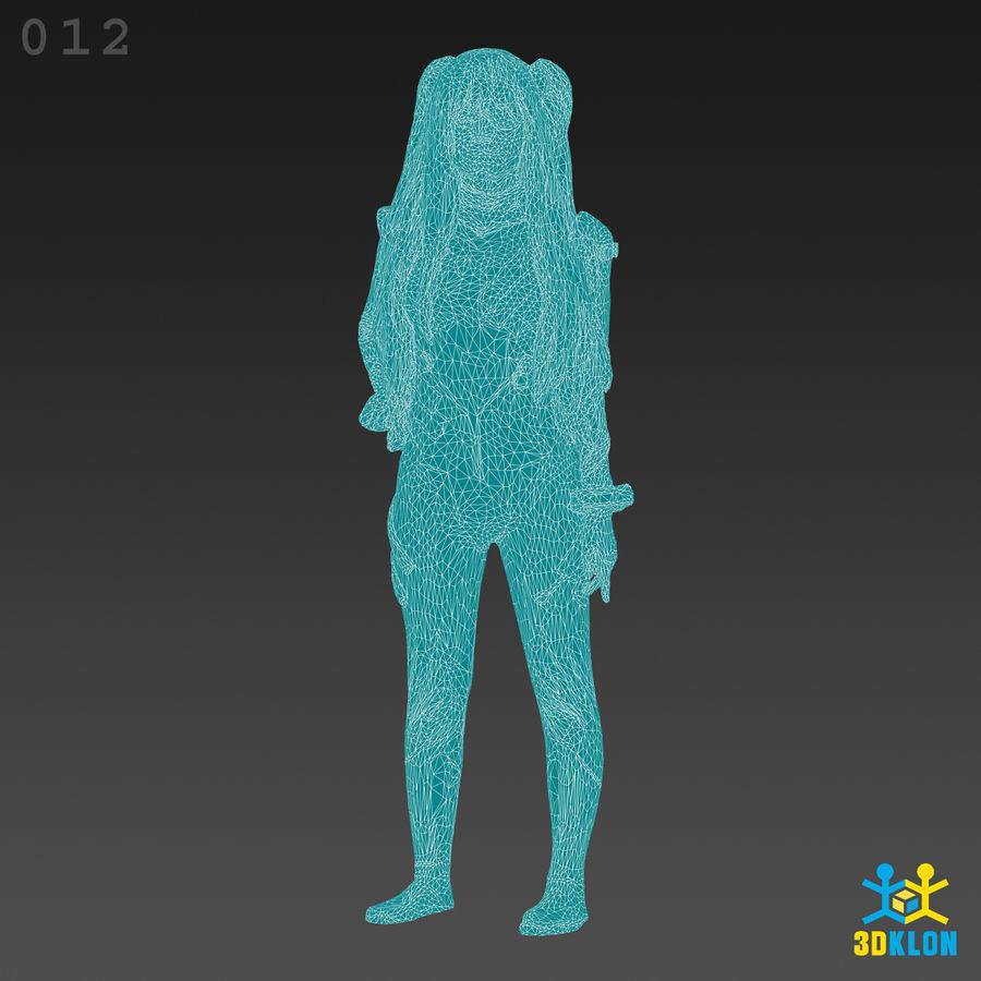 Cosplay menina alta poli 3D Scan royalty-free 3d model - Preview no. 11
