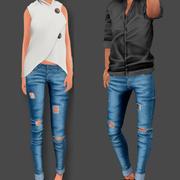 찢어진 청바지 남성과 여성 3d model