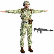 Soldatkaraktär, låg poly. 3d model