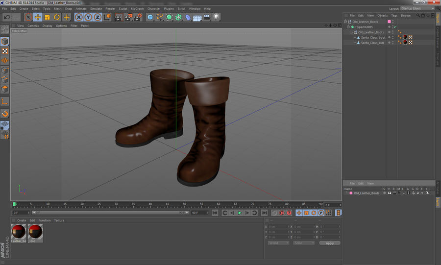 Old Leather Boots royalty-free 3d model - Preview no. 13