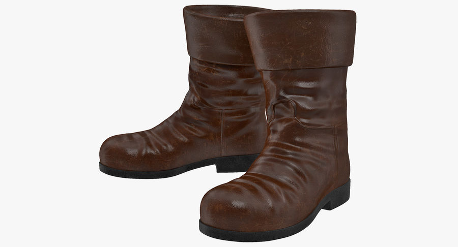 Old Leather Boots royalty-free 3d model - Preview no. 2