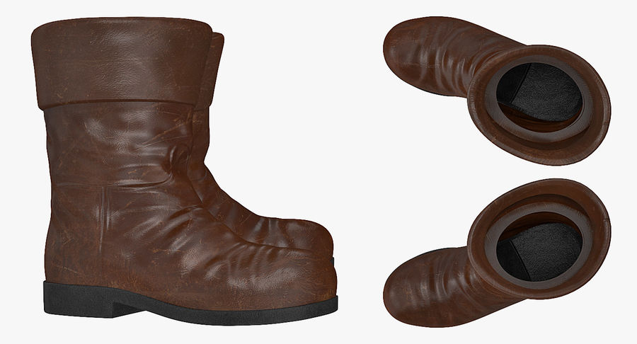 Old Leather Boots royalty-free 3d model - Preview no. 5