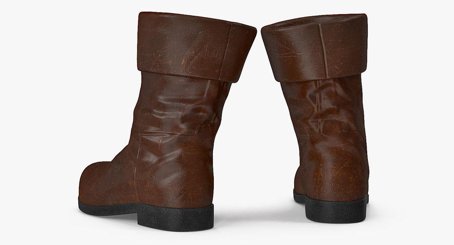 Old Leather Boots royalty-free 3d model - Preview no. 3