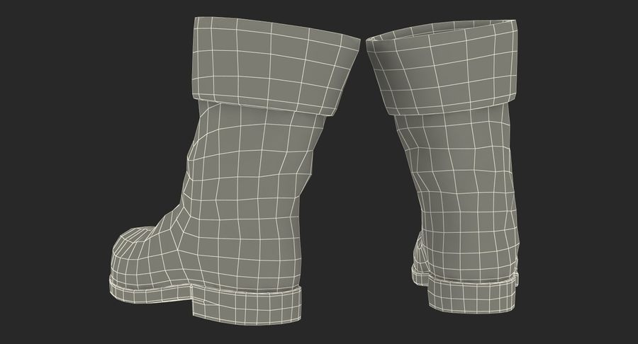 Old Leather Boots royalty-free 3d model - Preview no. 15