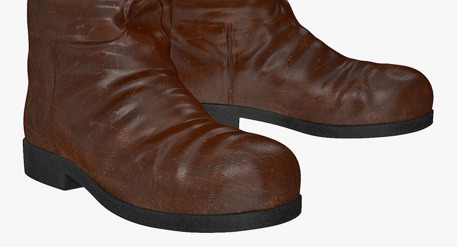 Old Leather Boots royalty-free 3d model - Preview no. 7