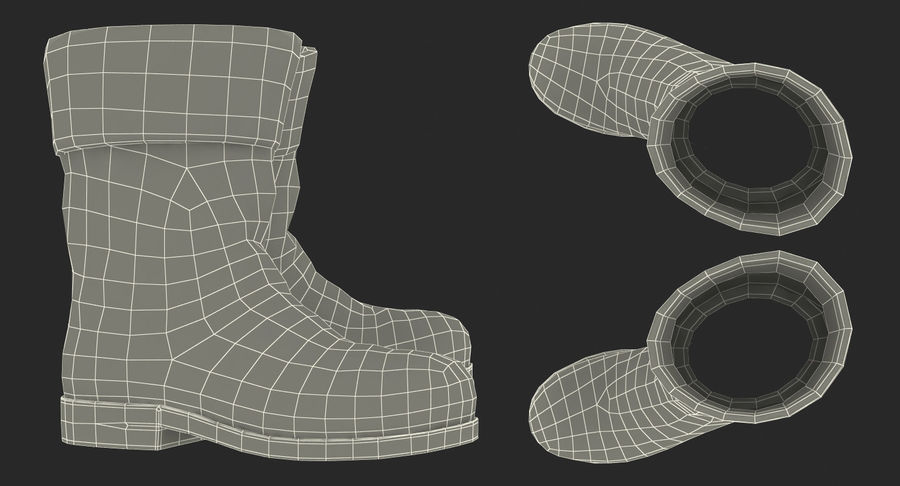 Old Leather Boots royalty-free 3d model - Preview no. 17