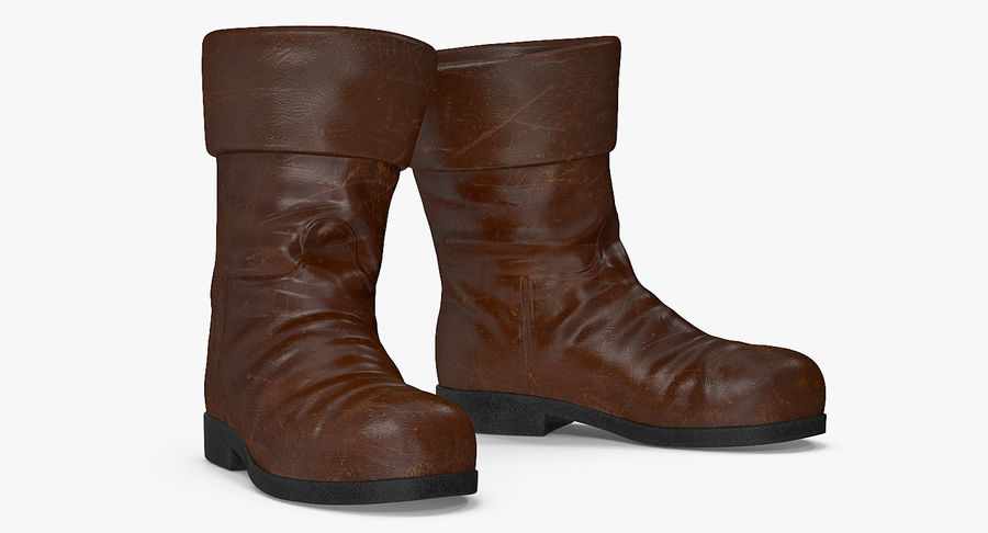 Old Leather Boots royalty-free 3d model - Preview no. 4