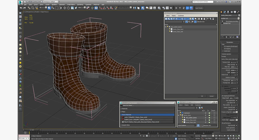 Old Leather Boots royalty-free 3d model - Preview no. 14