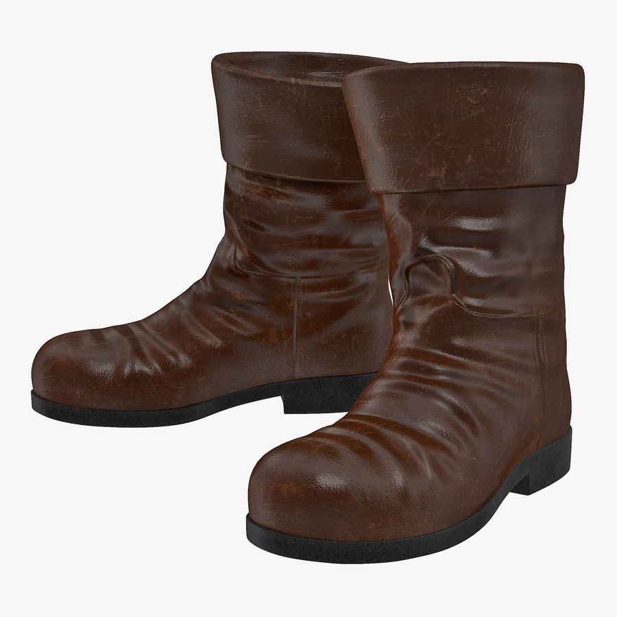 Old Leather Boots royalty-free 3d model - Preview no. 1