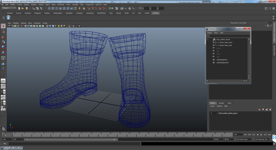 Old Leather Boots royalty-free 3d model - Preview no. 12
