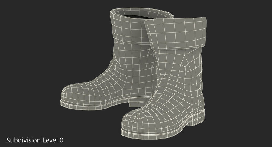 Old Leather Boots royalty-free 3d model - Preview no. 8