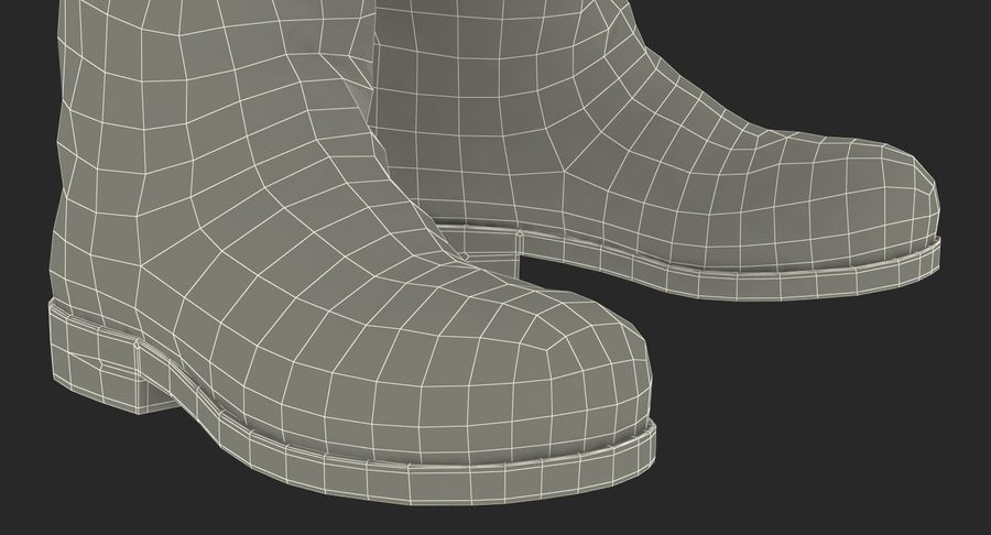 Old Leather Boots royalty-free 3d model - Preview no. 18
