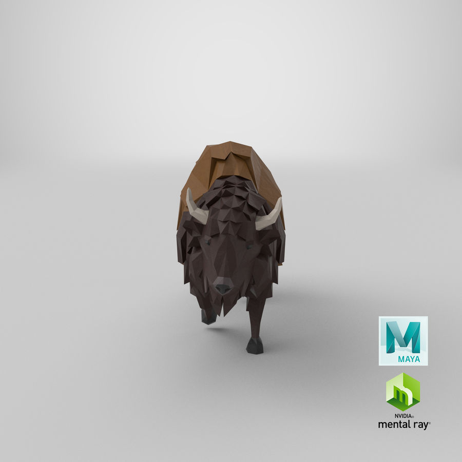 Buffalo uitgevoerd royalty-free 3d model - Preview no. 20