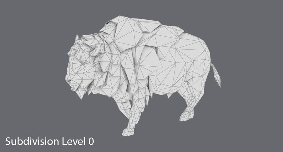 Buffalo uitgevoerd royalty-free 3d model - Preview no. 12