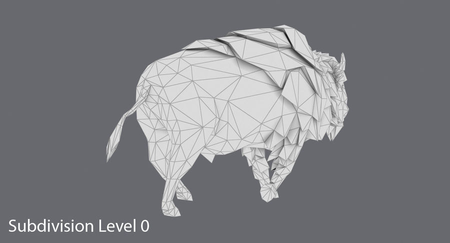 Buffalo uitgevoerd royalty-free 3d model - Preview no. 14